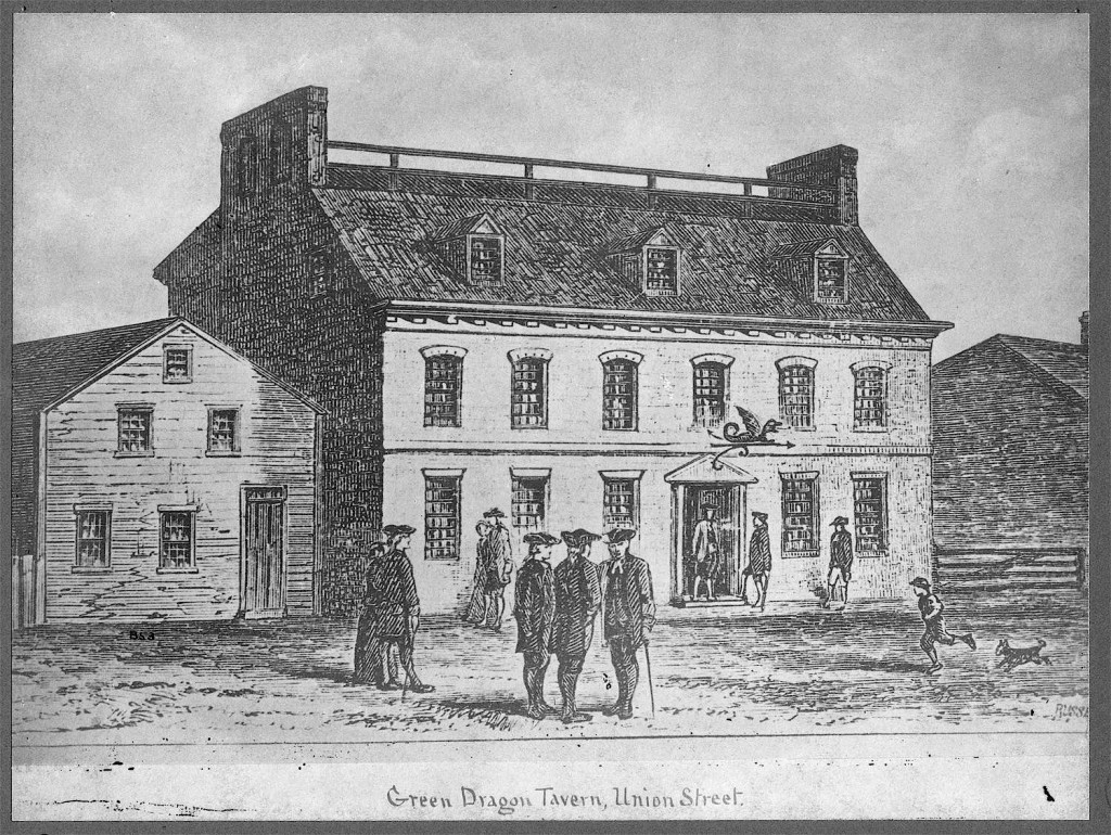 Historical drawing of The Green Dragon Tavern